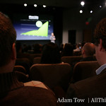 The view from the crowd at the iPhone 3.0 event, held at Apple's Town Hall in Cupertino.