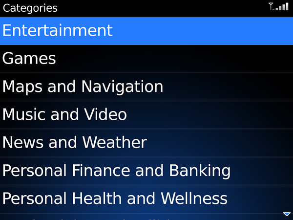 The BlackBerry App Store Categories