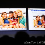 iPhoto 09 now integrates with Facebook and Flickr. People can be tagged in Facebook and the tag will be synced back to iPhoto.