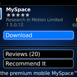 Downloading the MySpace application for BlackBerry.