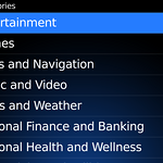 Categories of applications in the BlackBerry App World.