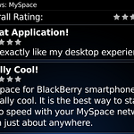 Ratings of the MySpace BlackBerry application.